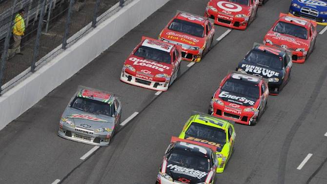 NASCAR drivers approach turn two during NASCAR's Sprint Cup Series auto race at Martinsville Speedway, Sunday, Oct. 28, 2012, in Martinsville, Va. (AP Photo/Don Petersen)