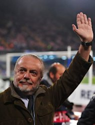 Napoli's president Aurelio de Laurentiis, pictured in November 2011 at the San Paolo stadium in Naples. Serie A club Napoli has come under scrutiny after the country's Finance Police raided the club in relation to suspicions of financial foul play, media reports said