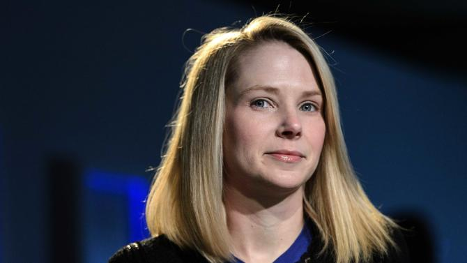 FILE - In this Friday, Jan. 25, 2013, file photo, Marissa Mayer, CEO of Yahoo!, listens during the 43rd Annual Meeting of the World Economic Forum, in Davos, Switzerland. Yahoo Inc. reports quarterly financial results after the market closes. (AP Photo/Keystone, Laurent Gillieron)