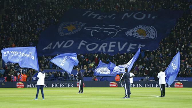 General view as Leicester fans display a banner before the game