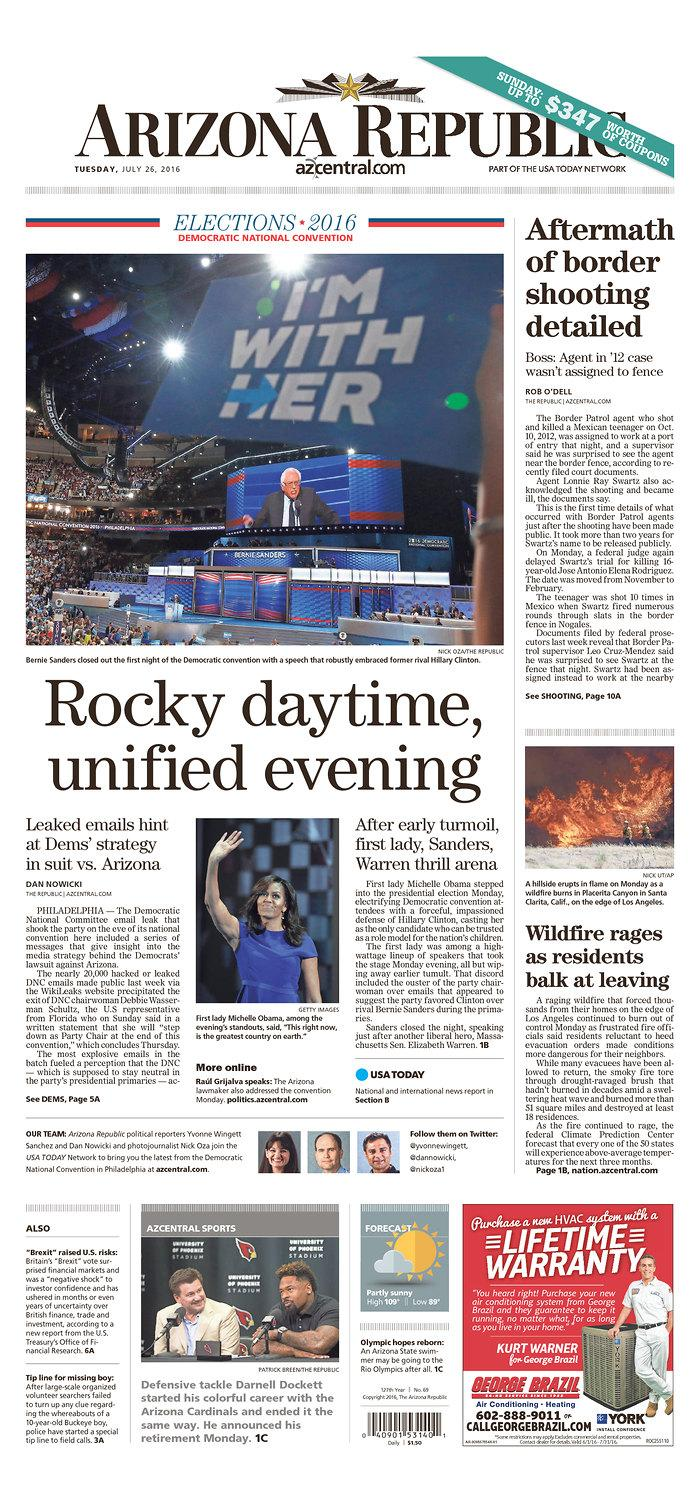 Newspaper headlines from first day of DNC