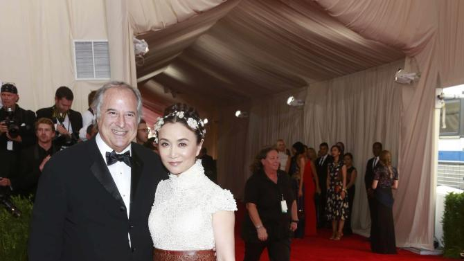 "U.S. producer Lane and Chinese-American actress Yan arrive for the Metropolitan Museum of Art Costume Institute Gala 2015 celebrating the opening of ""China: Through the Looking Glass,"" in Manhattan"