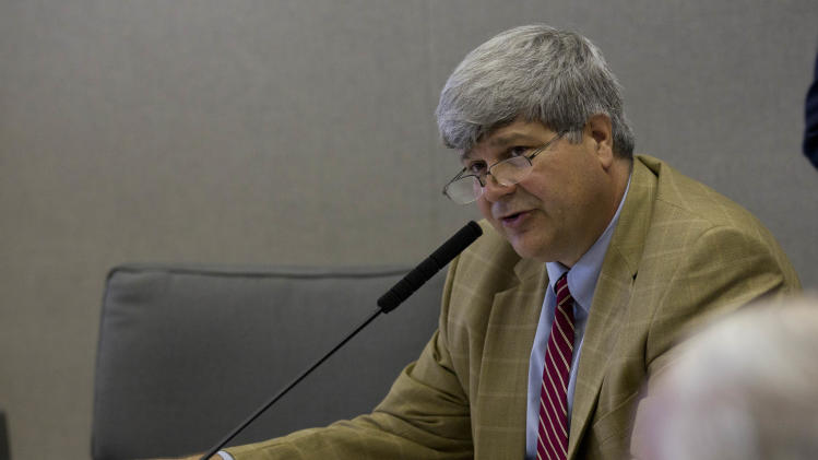 Senate Finance and Taxation-Education Committee Chairman Sen. Trip Pittman, R-Daphne, discusses the proposed education budget during their committee meeting at the Alabama Statehouse in Montgomery, Ala., Wednesday, April 18, 2012. (AP Photo/Dave Martin)