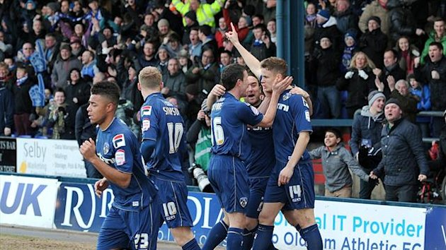 Oldham celebrate Matt Smith's opener