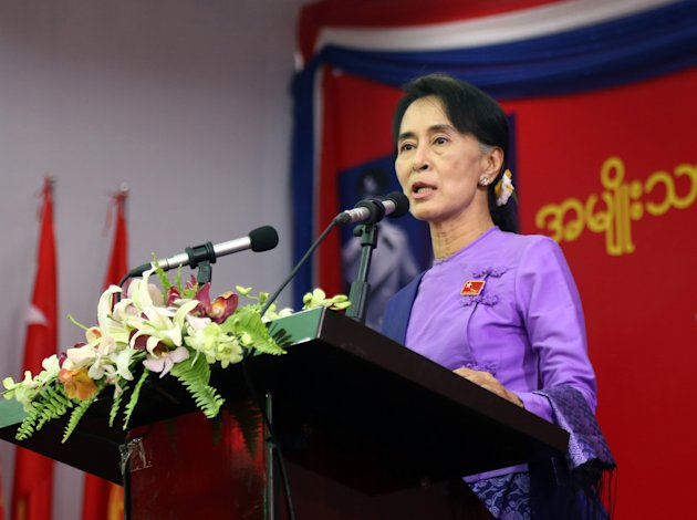 Myanmar's opposition leader Aung San Suu Kyi speaks during the second day session of first ever congress of her National League for Democracy party at Royal Rose restaurant in Yangon, Myanmar, Sunday,