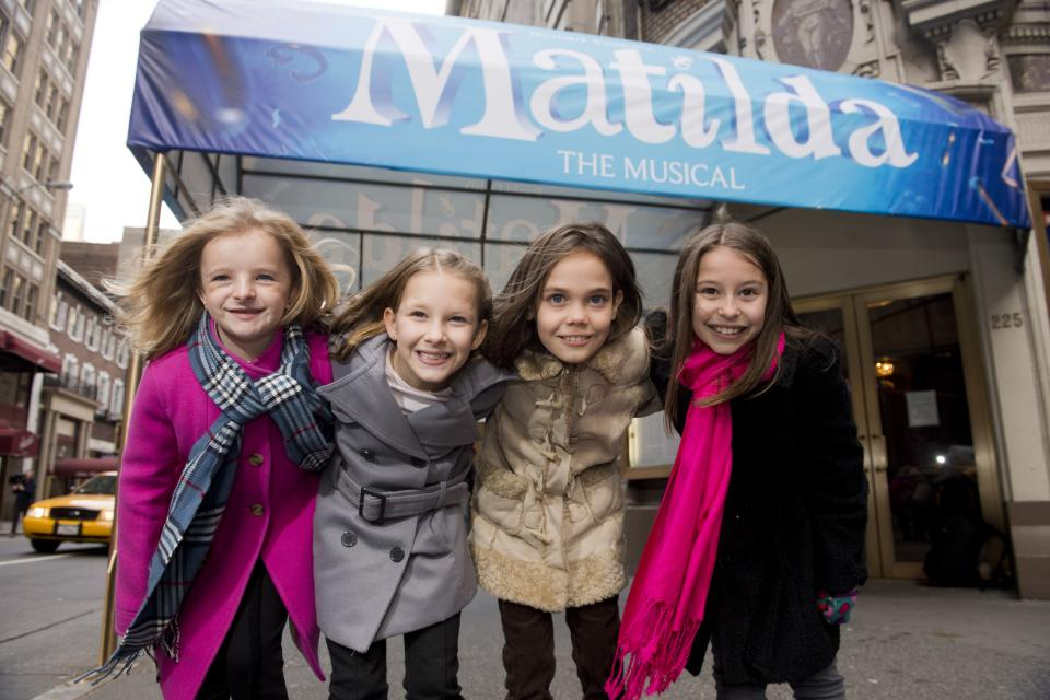 "Actresses from left, Milly Shapiro, Sophia Gennusa, Oona Laurence and Bailey Ryon, who will share the starring role in ""Matilda the Musical"" on Broadway, pose for a portrait outside the Shubert Theatre, on Thursday, Nov. 15, 2012 in New York. (Photo by Charles Sykes/Invision/AP)"