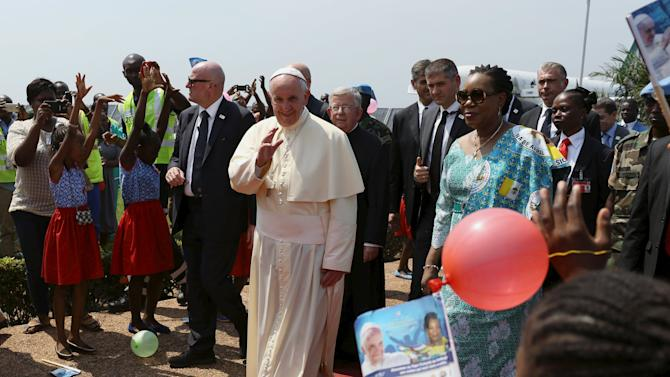 Pope Francis arrives at the international airport of Bangui