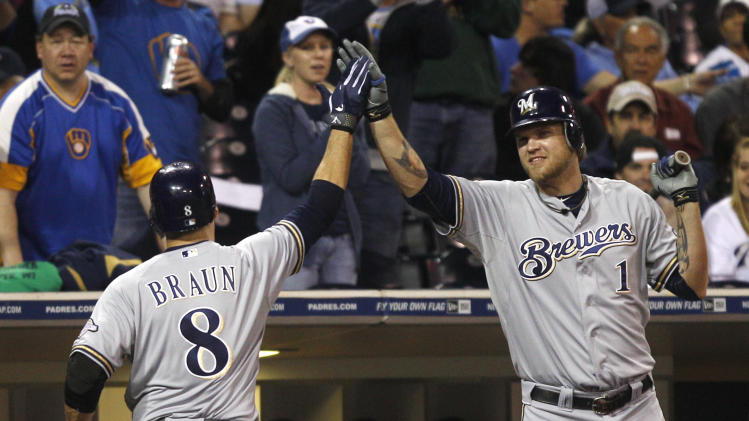 Milwaukee Brewers' Ryan Braun is congratulated by Corey Hart after his solo homer against the San Diego Padres in the fourth inning of a baseball game Monday, April 30, 2012 in San Diego. (AP Photo/Lenny Ignelzi)