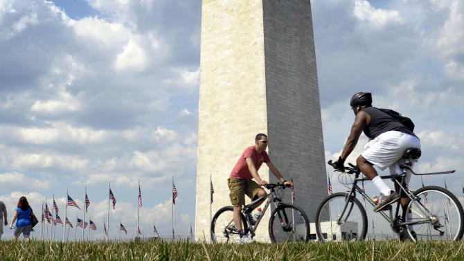 FILE - In this March 15, 2012, file photo people enjoy the warm weather near the Washington National Monument in Washington. America this year, especially in March, has been so warm that national records aren't just broken, they are being deep fried. The lower 48 states were 8.6 degrees above normal for March and 6 degrees higher than average for the first three months of the year, according to calculations by the National Oceanic and Atmospheric Administration, with both March and the first three months of the year far exceeding the country's old records. (AP Photo/Susan Walsh, File)