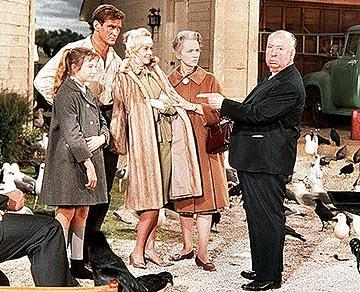 Veronica Cartwright , Rod Taylor , Tippi Hedren , Jessica Tandy and Alfred Hitchcock of Universal's The Birds
