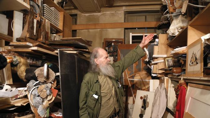 Alain Le Yaouanc, a 74-year-old French artist, speaks about his creations in his apartment and studio in Paris
