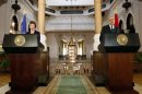 Egypt's interim Vice President ElBaradei speaks with EU foreign policy chief Ashton in Cairo