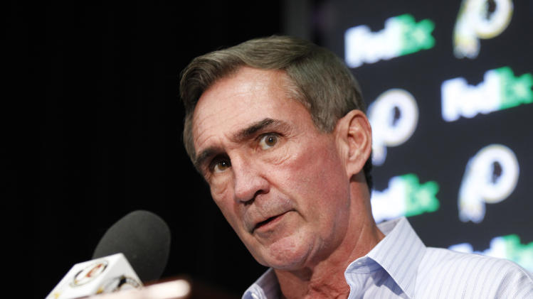 Washington Redskins head coach Mike Shanahan talks during a predraft news conference at at Redskins Park, Wednesday, April 27, 2011, in Ashburn, Va. (AP Photo/Luis M. Alvarez)