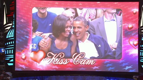 Obama Blows the Kiss Cam