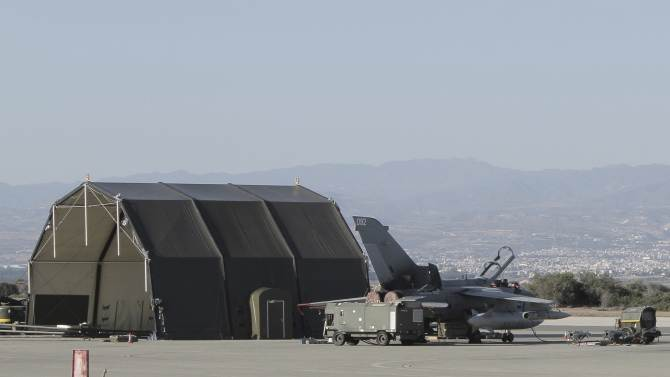 A British Royal Air Force (RAF) Tornado GR4 sits on the tarmac at Akrotiri, a British military base on the southern coast of Cyprus