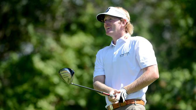 Brandt Snedeker watches his drive on the seventh hole of the fourth round of The Barclays golf tournament at Bethpage State Park in Farmingdale, N.Y., Sunday, Aug. 26, 2012. (AP Photo/Henny Ray Abrams)