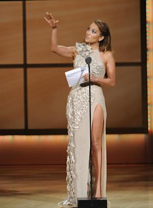 Singer Jennifer Lopez is seen on stage at the Glamour Magazine 21st Annual Women of the Year Awards ceremony at Carnegie Hall, Monday, Nov. 7, 2011, in New York. (AP Photo/Brad Barket)