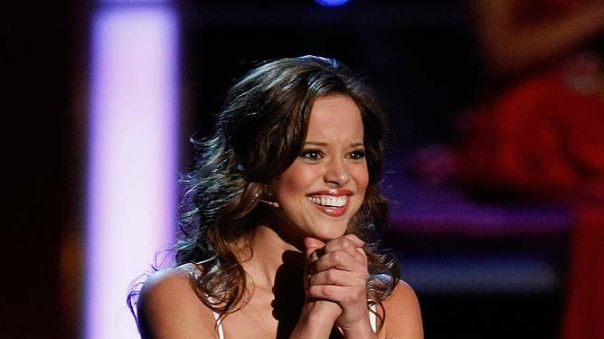 Katie R. Stam, Miss Indiana, sings during the talent competition during the 2009 Miss America Pageant at the Planet Hollywood Resort & Casino January 24, 2009 in Las Vegas, Nevada. Stam went on to be crowned the new Miss America.