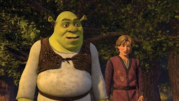 Shrek (voiced by Mike Myers ) and Artie (voiced by Justin Timberlake ) in DreamWorks Animation's Shrek the Third