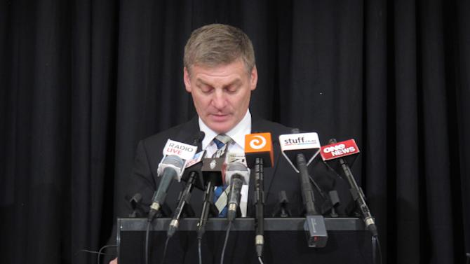 New Zealand's Finance Minister Bill English delivers his annual budget to reporters and analysts in Wellington, New Zealand on Thursday, May 16, 2013. In his budget address, English outlined plans to return the country to surplus by the year beginning July 2014. (AP Photo/Nick Perry)