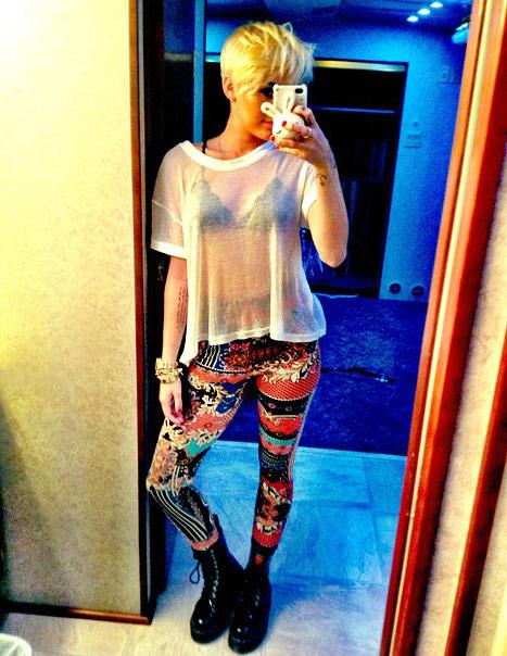 "NEW PIC: Miley Cyrus Wears ""Crazy"" Tight Pants, Flashes Bra and Shows off Haircut"