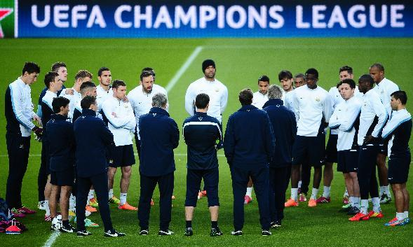Manchester City's players attend a training session at the Camp Nou Stadium in Barcelona, Spain, Tuesday, March 11, 2014. FC Barcelona will play against Manchester City in a group H Champions Leag