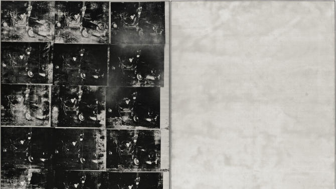 """This image provided by Sotheby's on Friday, Oct. 4, 2013 shows """"Silver Car Crash (Double Disaster)"""" by Andy Warhol. The silkscreen print with multiple photos of the aftermath of a car which collided into a tree measures 8 feet by 13 feet and is part of Warhol's """"Death and Disaster"""" series. The work is scheduled for auction at Sotheby's on Nov. 13, 2013. (AP Photo/Sotheby's)"""