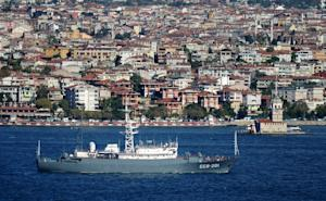A Russian Navy vessel is seen sailing through the Bosphorus…