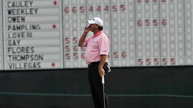 Boo Weekley reacts after missing a par putt on the ninth hole during the second round of The McGladrey Classic PGA Tour golf tournament, Friday, Oct. 19, 2012, in St. Simons Island, Ga. (AP Photo/Stephen Morton)