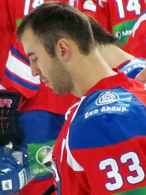 Zdeno Chara during national anthem before KHL game (#NickInEurope)