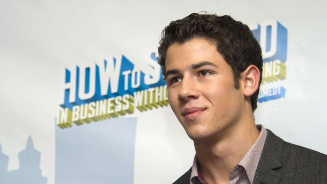 "Nick Jonas attends a news conference to announce he will join the cast of Broadway's ""How to Succeed in Business Without Really Trying"", in New York, Wednesday, Sept. 7, 2011. (AP Photo/Charles Sykes)"