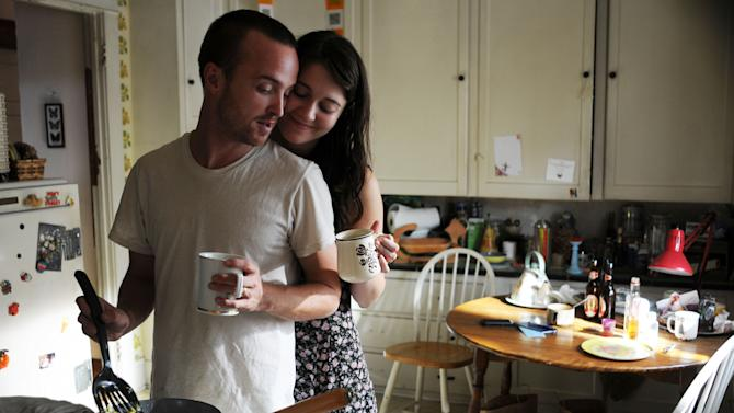 """This film image released by Sony Pictures Classics shows Aaron Paul as Charlie Hannah, left, and Mary Elizabeth Winstead as Kate Hannah in a scene from """"Smashed."""" (AP Photo/Sony Pictures Classics, Oana Marian)"""