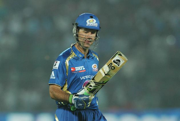 Mumbai Indian captain Ricky Ponting caught n bowled by Rajasthan Royals player Ajit Chandila during match 23 of the Pepsi Indian Premier League ( IPL) 2013  between The Rajasthan Royals and the Mumbai