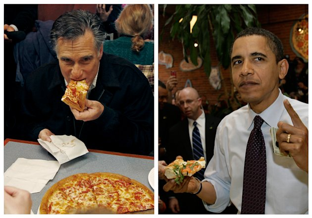 "<p>               In this combination of file photos, Republican presidential candidate former Mass. Gov. Mitt Romney, left, takes a bite of pizza during lunch with his wife Ann while campaigning at Village Pizza in Newport, N.H., Dec. 20, 2011, and then-Senator Barack Obama, right, takes a bite of pizza at American Dream Pizza in Corvallis, Ore., March 21, 2008. Pizza Hut is offering a lifetime of free pizza, one large pie a week for 30 years, or a check for $15,600 to anyone who poses the question ""Sausage or pepperoni?"" to either President Barack Obama or Republican candidate Mitt Romney during the live Town Hall-style debate next Tuesday, Oct. 16, 2012.  (AP Photo)"