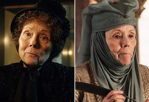 Diana Rigg in Dr. Who (l), Game of Thrones(r) | Photo Credits: Adcrian Rogers/BBC Worldwide; Helen Sloan/HBO
