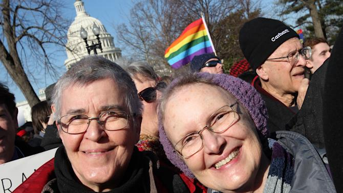 IMAGE DISTRIBUTED FOR HUMAN RIGHTS CAMPAIGN - Jo Ann Whitehead, left, and Bette Jo Green joined the marriage equality supporters at the Supreme Court as the justices heard the case Hollingsworth v. Perry, a challenge to California's Proposition 8, on Tuesday, March 26, 2013 in Washington, D.C. (Paul Morigi/AP Images for Human Rights Campaign)