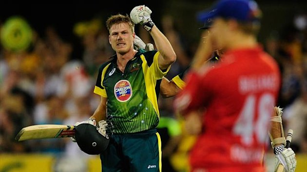 James Faulkner of Australia celebrates after scoring the winning runs during the second game of the One Day International Series between Australia and England (Getty Images)