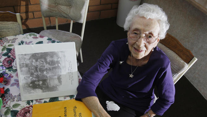 In this March 30, 2012, photo, Verla Morris, who will turn 100 later this year, poses for a photograph as she goes through some of her family census data from the 19th and 20th centuries at her local residential senior center in Chandler, Ariz. When the 1940 census records are released Monday, April 2, Morris will see her own name and details about her life in the records being released after 72 years of confidentiality expires, allowing her to find out more about her family tree. (AP Photo/Ross D. Franklin)