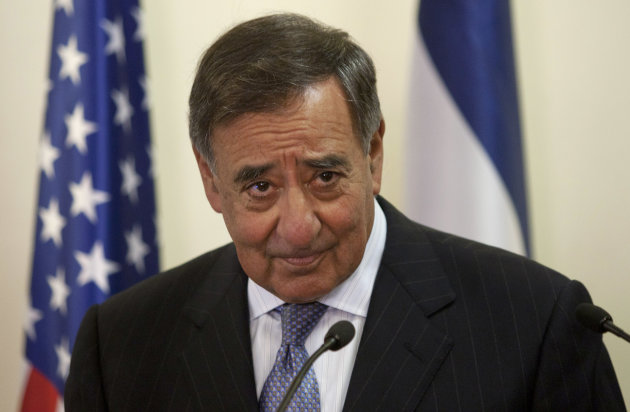 U.S. Defense Secretary Leon Panetta looks on during a meeting with Israeli Prime Minister Benjamin Netanyahu, not seen, at the Prime Minister's office in Jerusalem, Wednesday, Aug. 1, 2012. Israel's threats to attack Iran and the violence convulsing Syria top the agenda of Panetta's meetings Wednesday with Israeli government leaders. (AP Photo/Sebastian Scheiner, Pool)