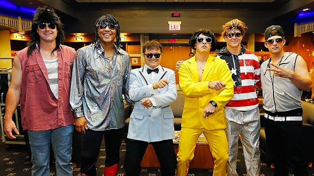 Yankees rookies 'forced' to dress up like pop stars in a bit of 'hazing'