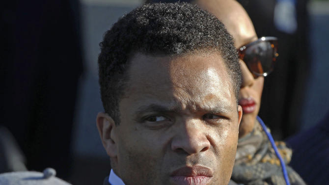 FILE - In this Oct. 16, 2011 file photo, Rep. Jesse Jackson, Jr., D-Ill., is seen during the dedication of the Martin Luther King Jr. Memorial in Washington. Congressmen Bobby Rush, who visited Jackson at his Washington home on Monday, Oct. 22, 2012, with Danny Davis, said Jackson was en route Minnesota's Mayo Clinic, which released him last month following treatment for bipolar disorder. (AP Photo/Charles Dharapak, File)