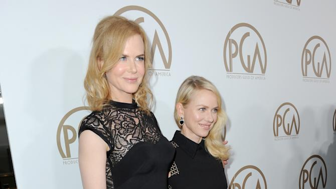 Nicole Kidman, left, and Naomi Watts arrive at the 24th Annual Producers Guild (PGA) Awards at the Beverly Hilton Hotel on Saturday Jan. 26, 2013, in Beverly Hills, Calif. (Photo by Jordan Strauss/Invision for The Producers Guild/AP Images)