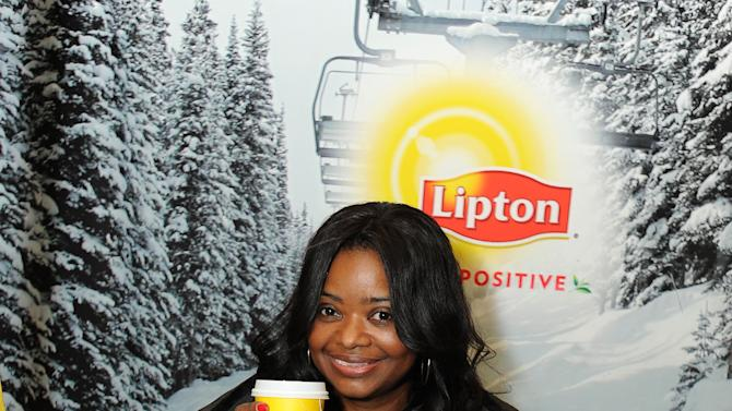 """IMAGE DISTRIBUTED FOR LIPTON: Actress Octavia Spencer gets some """"Help"""" surviving Sundance with a tea-break at the Lipton Uplift Lounge amidst the hustle and bustle of  Sundance on Friday Jan. 18, 2013, in Park City, UT.  (Photo by Jordan Strauss/Invision for Lipton/AP Images)"""