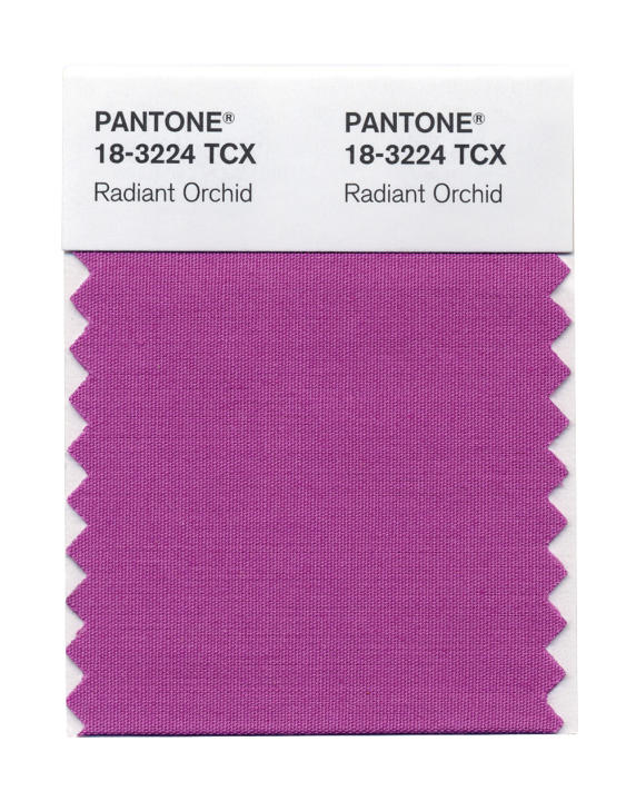 This photo provided by Pantone shows the Radiant Orchid color swatch for Pantone. Pantone's Radiant Orchid, selected as color of the year will, in theory, will have a strong presence in fashion, beaut