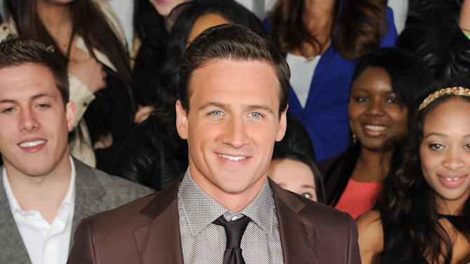 """Olympic swimmer Ryan Lochte from """"What Would Ryan Lochte Do?"""" attends the E! Network 2013 Upfront at the Manhattan Center on Monday April 22, 2013 in New York. (Photo by Evan Agostini/Invision/AP)"""