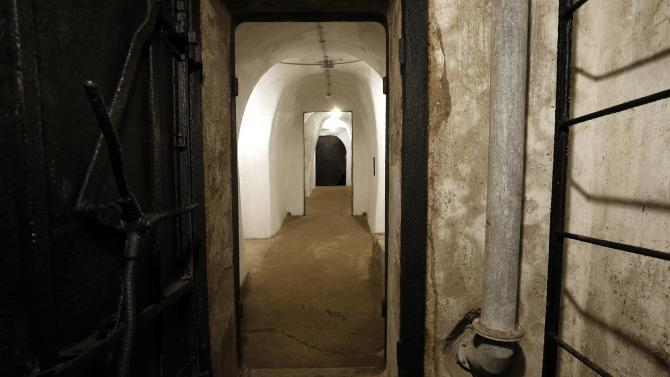 A passageway is pictured inside a secret bunker of Fascist leader Benito Mussolini that was built between 1942 and 1943 under his private residence at Villa Torlonia in Rome