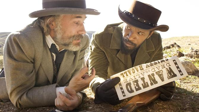 """This undated publicity image released by The Weinstein Company shows, from left, Christoph Waltz as Schultz and Jamie Foxx as Django in the film, """"Django Unchained,"""" directed by Quentin Tarantino. Waltz was nominated Thursday, Dec. 13, 2012 for a Golden Globe for best supporting actor for his role in the film. The 70th annual Golden Globe Awards will be held on Jan. 13.  (AP Photo/The Weinstein Company, Andrew Cooper, SMPSP)"""