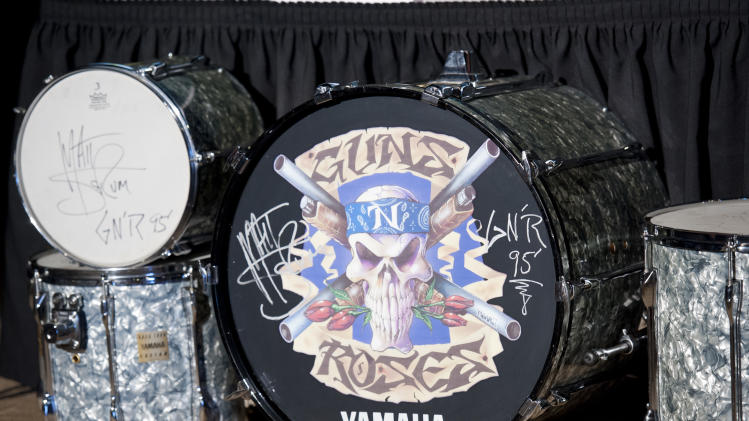 Hard Rock International displayed key pieces from their extensive collection of memorabilia, such Matt Sorum's drum kit, in addition to items from the collection featured at the Rock and Roll Hall of Fame Induction Ceremony. seen at the Hard Rock Northfield Park Gaming and Entertainment Facility Press Conference/Kick-off event, on Wednesday, April 18, 2012 in Northfield, OH. (Jason Miller /AP Images for Hard Rock International)