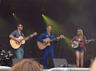 Canadian astronaut Chris Hadfield performs with the Trent Severn folk trio on Canada Day (July 1) in Ottawa.