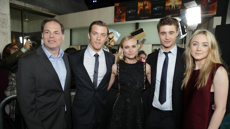 Open Road Film's Tom Ortenberg, Jake Abel, Diane Kruger, Max Irons and Saoirse Ronan at Open Road Films Los Angeles Premiere of 'The Host' held at the ArcLight Hollywood, on Tuesday, March, 19, 2013 in Los Angeles. (Photo by Eric Charbonneau/Invision for Open Road Films/AP Images)